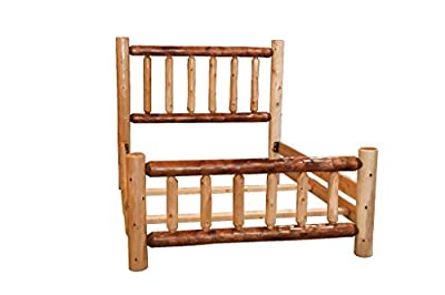 Rustic White Cedar Log Mission Style bed with Double Side Rail (TWO-TUNE)