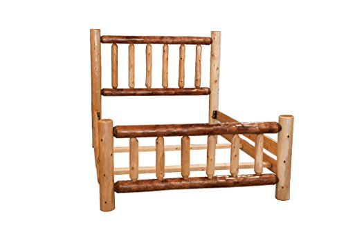 Amazon.com: Rustic White Cedar Log Mission Style bed with Double ...