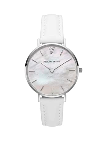 Paul Valentine Silver Seashell - Reloj de Pulsera para Mujer (32 mm), Color Blanco: Amazon.es: Relojes