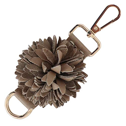 Genuine Leather Handmade Pom Pom Charms | Key Ring Keychain | for Tassel Bags Purse Backpack (Light Brown - Pom Pom)