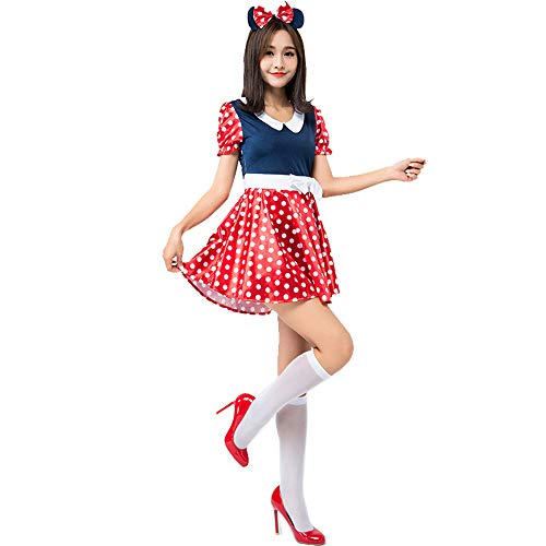 Honfill Cute Mouse Costume Novelty Polka Dot Dress with Headband ()