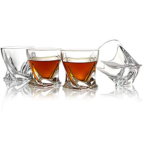 ELIDOMC Twist Whiskey Glasses - Set Of 4-10 OZ Crystal Whiskey Glass For Drinking Bourbon Scotch Cocktail Irish Whisky, 100% Lead Free Old Fashioned Glasses And Bourbon Glasses With Luxury Gift Box. by E (Image #2)