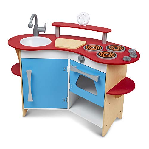 Melissa & Doug Cook's Corner Wooden Pretend Play Toy Kitchen