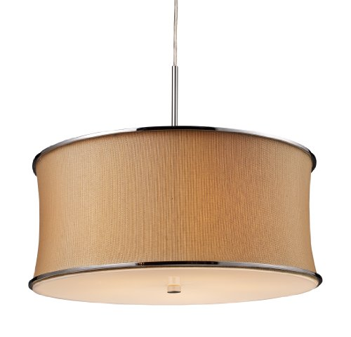 Elk 20020/5 Fabrique 5-Light Drum Pendant In Polished Chrome and Textured Tan Shade (Shade Textured Tan)
