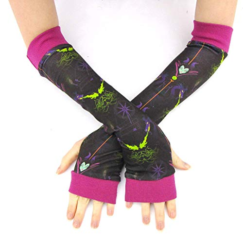(Maleficent Arm Warmers Fingerless Gloves Evil Queen costume)