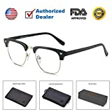 Teddith Blue Blocker Computer Glasses Blocking UV Headache Anti Eye Strain Clear Lens Men/Women Black