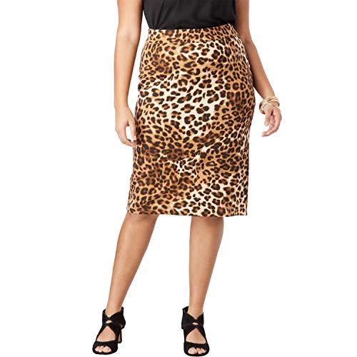 (Roamans Women's Plus Size Ultimate Ponte Pencil Skirt - Natural Animal Print, 18 W)