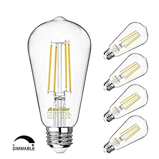 Dimmable Vintage LED Edison Bulbs 60 Watt Equivalent, Eye Protection Led Bulb with 95+ CRI, Daylight White 4000K, ST58 Antique LED Filament Bulbs, E26 Medium Base, Pack of 4