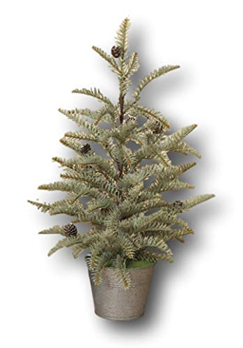 STERLING Blue Spruce Artificial Tree Pinecones in Galvanized Metal Pot (24 Inches)