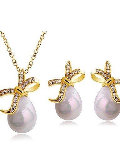adc4a2a576c4 conjunto de joyas de diseño exclusivo de perlas de imitación de cristal de  regalo clásico elegante pendientes collar colgante de novia