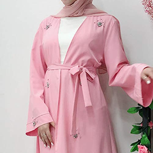 Sayhi Muslim Fashion Women's Beaded Cardigan Robes Arabian Traditional Loose Dress Slamic Dresses(Pink,XL) by Sayhi (Image #5)