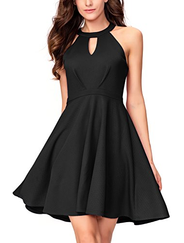 InsNova Women's Halter Skater Black Cocktail Dress Keyhole Neck (Dresses Teen Homecoming)