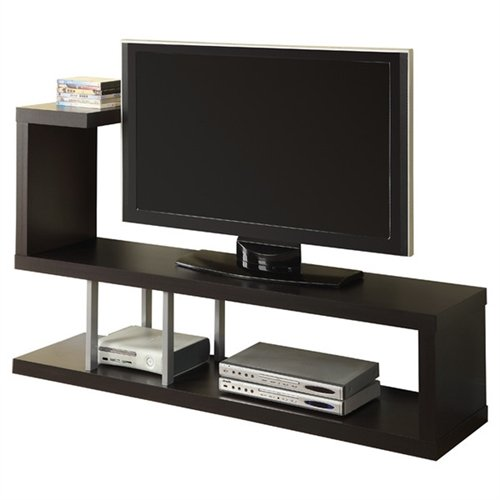 Svitlife Modern Entertainment Center TV Stand in Cappuccino Finish Entertainment Tv Center Stand And Shelves Modern Console Media (Center Entertainment Expandable Console)