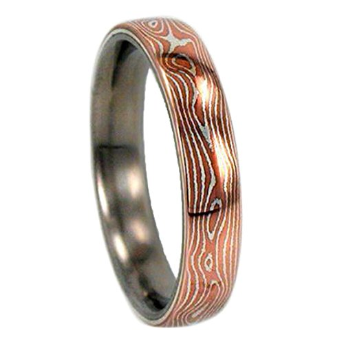 Copper and Silver Mokume Gane 6mm Comfort Fit Titanium Band, Size 4.5