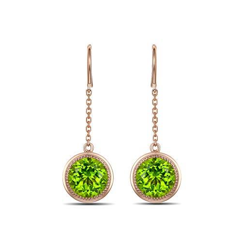 18k Bead Set Bezel - Caimao Jewelry 5.6ct Natural Peridot Hook Earrings Bead Bezel Set 18K Yellow Gold Chain Style