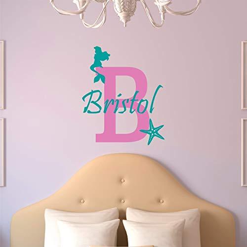 Custom Name Mermaid Wall Decal - Girls Personalized Name Mermaid Starfish Wall Sticker - Custom Name Sign - Custom Name Stencil Monogram - Baby Girl Nursery Room Wall Decor