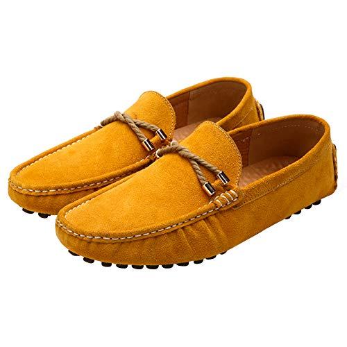 Hombres Gamuza Mocasines Zapatos Amarillo Clásico de de YAER Conducción qwCI6xdqE