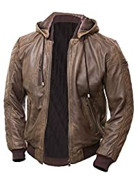 SHAZMEEN Genuine Distressed Brown Leather Jacket Men With Removable Hood Men's Motorcycle Leather Jacket