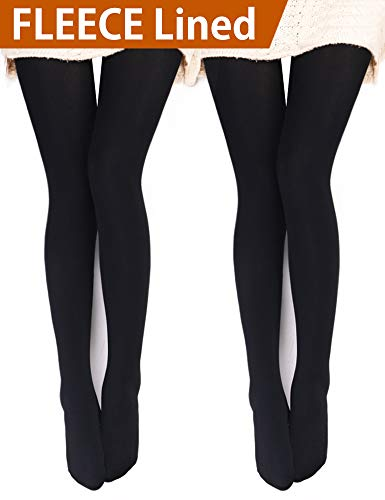 - VERO MONTE 2 Pairs Womens Opaque Warm Fleece Lined Tights (BLACK) 46031