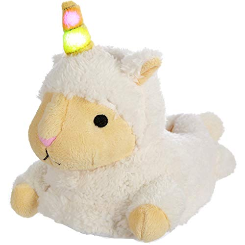 Llama Alpaca Sheep Lamb Unicorn Mix Slippers for Women and Girls with Light Up LED Horn