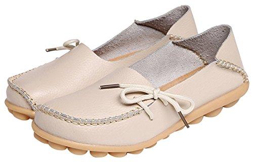 Zapatillas de cuero de las mujeres calzan el deslizamiento ocasional plano en la zapatilla de deporte de los mocasines de conducción Blanco