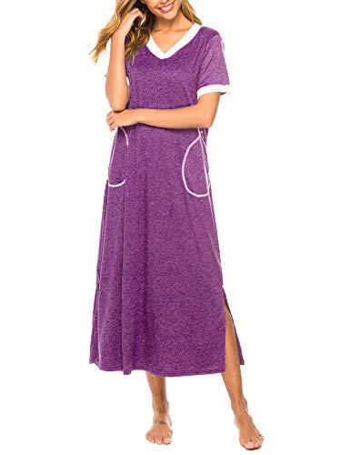 Bloggerlove Long Nightgown Womens Lounge Dresses with Pockets V Neck Short Sleeve Nightshirt Sleepwear S-XXL - Sleepshirt Long