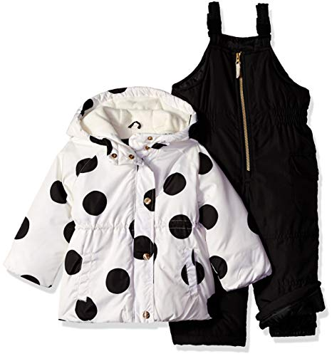 Carter's Girls' Little 2-Piece Heavyweight Printed Snowsuit with Ears, Black/White Polka dot, 5/6 ()