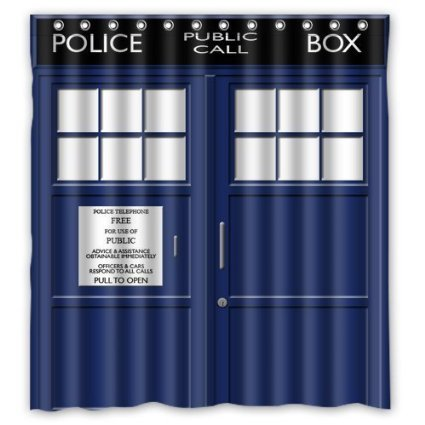 Winterby Custom Police Box Public Call Waterproof Fabric Bathroom Shower Curtain