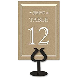 Printed Party Kraft Table Card Numbers for Wedding Reception - Double Sided - 1-25