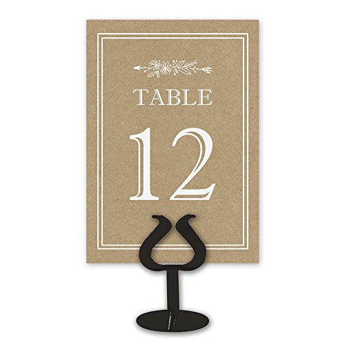 Double Sided Table Card Numbers | 1-25 | Kraft Table Numbers for Wedding Receptions, Events, and Parties ()