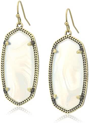 Kendra Scott Signature Elle Earrings Antique Brass and White Banded Agate