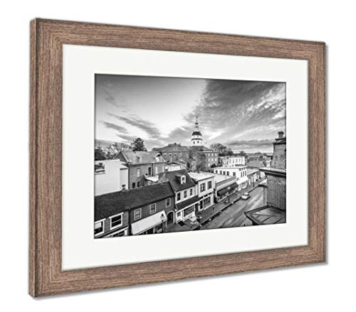 Ashley Framed Prints Annapolis Maryland USA, Wall Art Home Decoration, Black/White, 30x35 (Frame Size), Rustic Barn Wood Frame, AG6439177