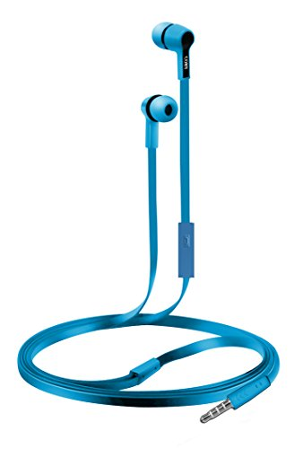 Coby CVE-111-BLU Rush Tangle-Free Flat Cable Stereo Earbuds with Mic, Blue