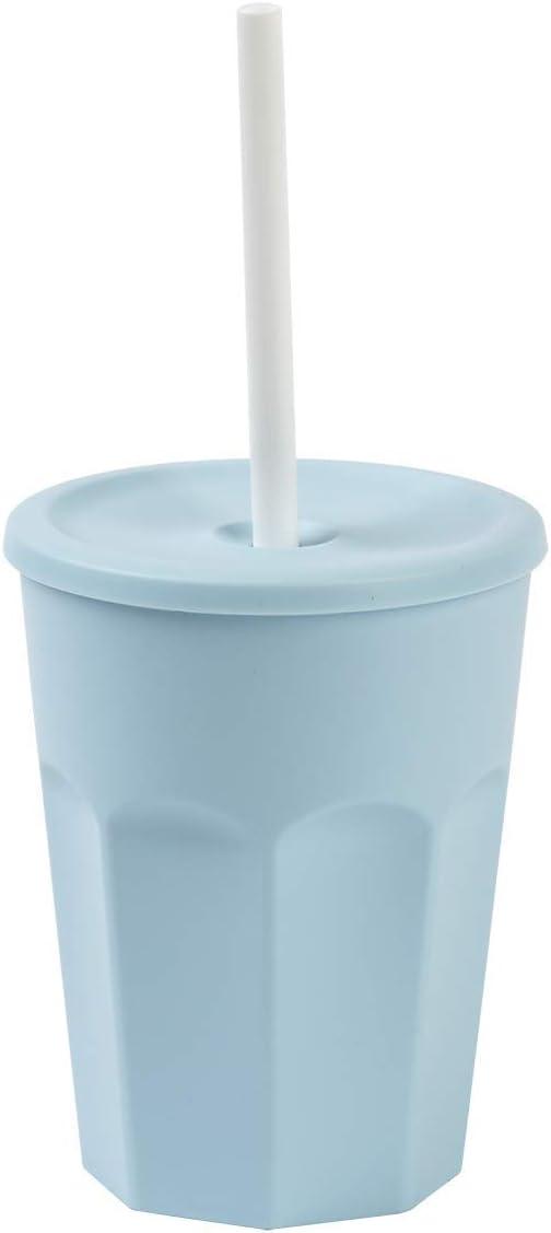 ENGELLAND 5X Kunststoffbecher mit Deckel Blau Trinkbecher mit Strohhalm Party-Becher Plastik Trink-Gl/äser Mehrweg 0,25l