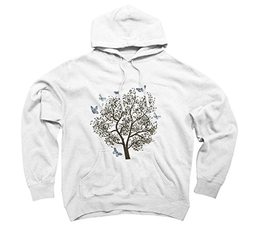 Butterflies Tree Men's Large White Graphic Pullover Hoodie - Design By Humans (Hoodie Graphic Butterfly)