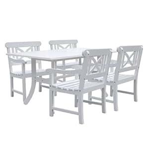 Vifah v1337set8Bradley Rectangular y curva pierna mesa y sillón al aire libre juego de comedor de madera