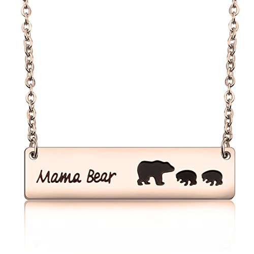 Mama Pendant 1 (MAOFAED Sweet Mama Bear Necklace Mother`s Day Gift for Mom Grandma Wife Godmother Necklace (Rose Gold necklace with 2 cubs))