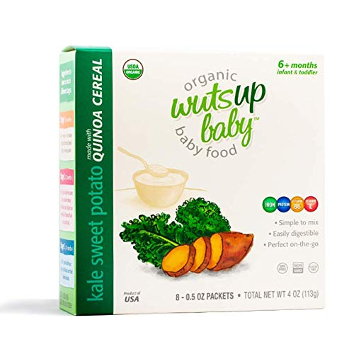 8x Organic Quinoa Infant & Baby Cereal Travel Packs w/Naturally Occurring Omega 3, 6, 9 Protein, Iron, Magnesium, B2. Easiest First Foods to Digest. By WutsupBaby -4oz(8packx0.5oz) (Kale&Sweet Potato)