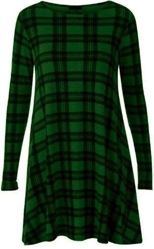 NUEVO MUJER Compruebe Bloque Impreso Swing Vestido Tartán Leggings 16–26 GREEN DRESS