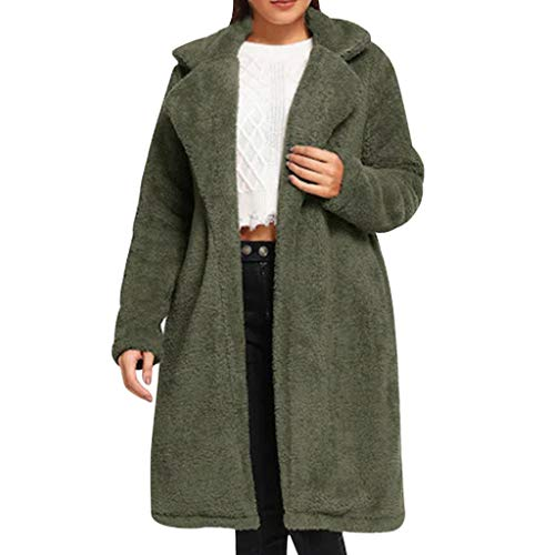 Women Fuzzy Fleece Jacket Open Front Long Sleeve Lapel Faux Shearling Shaggy Oversized Cardigan Coat (S, Army Green)