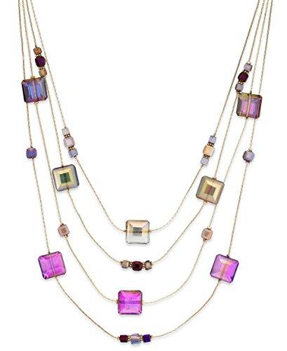 c.A.K.e by Ali Khan Square Bead Multi-Row Illusion Necklace, Purple/Multi