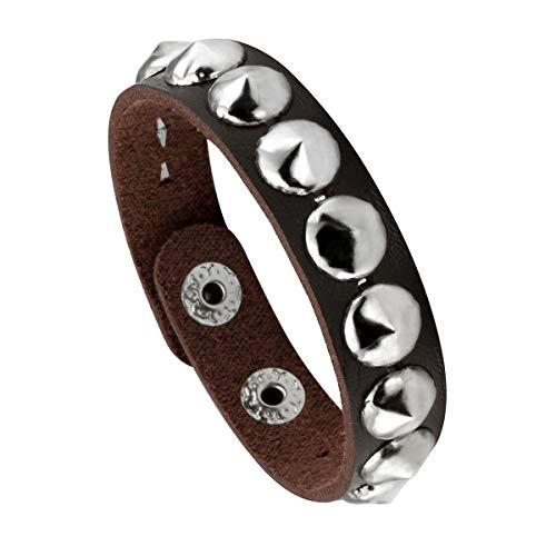 l Spike Studded Bracelet Punk Rock Biker Wide Strap Leather Bracelet ()