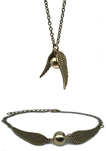 ChAmBer37-plata-Retro-alas-de-ngel-con-dorado-sinttica-Pearl--Collar-pulseratobillera-Set