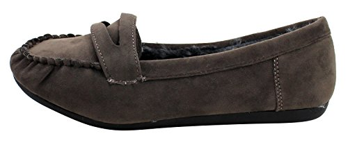Strap Fur Women's Lined Grey Fuzzy Lounge Interior Enimay Faux House Mocassin Slippers qUxvdv80n