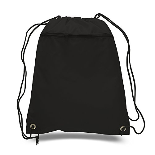 (SET OF 144) BagzDepot BULK Polyester Promotional Durable Gym Drawstring Backpacks with Front Zipper Pockets, Cinch Bags, Sack Packs in Bulk (Black) by BagzDepot