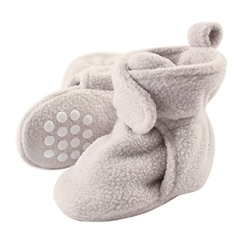 Luvable Friends Baby Cozy Fleece Booties with Non Skid Bottom, Light Gray, 6-12 Months