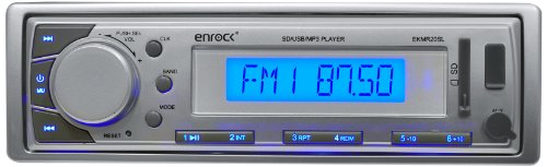 Enrock EKMR20SL Aqua Series Marine In-Dash Receiver with AM/FM Radio and AUX Input for iPod/MP3 Players and SD/USB Flash Readers (Silver) primary