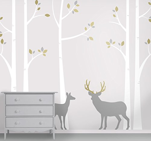 Deer and Buck Wall Mural - Birch Forest Nursery Wall Decals by Lulukuku Decals