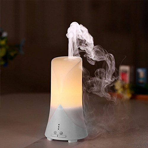 TERUTERU - Ultrasonic Humidifier USB Air Purifier Aroma Diffuser Spray with Time Setting, Cool Air Humidifier, Warm White LED Lamps (White)