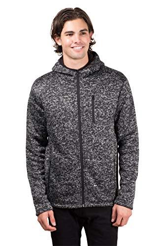 Brooklyn Surf Men's Sherpa Lined Cozy Knit Full Zip Hoodie, Black Marled Gray, ()